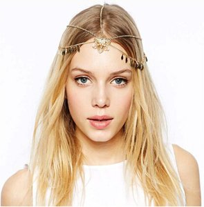 Boho Bohemian leaf Tassel Head Bands Women flower Head Chain Dance Jewelry alloy Forehead Wedding Hair Jewelry