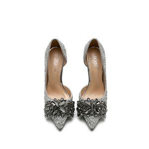reizvolle spitze hochhackige Schuhe Fersenseite leere Pailletten Diamant Licht Kristall Hochzeit Brautjungfer Mode Damenschuhe 246