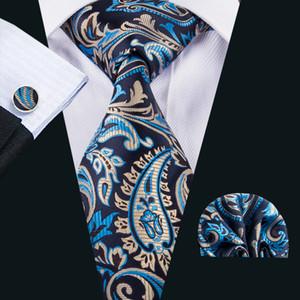 Bleu Paisely Wedding Tie Cravate en soie Hankerchief Cufflinaks Set de haute qualité cravate pour les hommes N-1581