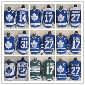 Retro Toronto Maple Leafs Camisas 27 Darryl Sittler 31 Grant Fuhr 14 Dave Keon 17 Wendel Clark CCM Vintage Clássico Azul Branco Verde
