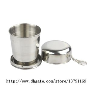 2pcs Stainless Steel Portable Outdoor Travel Camping Folding Collapsible Water Cup with Metal Telescopic Keychain 75ml