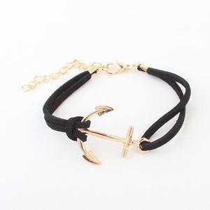 Nouveau bracelets à breloques en cuir Bracelet Antique Ancre à tricoter Bronze Bracelets à breloques Double Couche À La Main Bijoux Accessoire chaîne bracelet