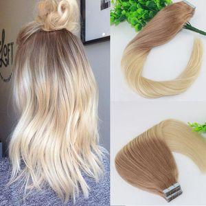 Due tonalità nastro nelle estensioni dei capelli umani # 18 # 613 Ombre Biondi senza soluzione di continuità Trama di trama dei capelli umani vergini brasiliani Slik Straight100g 40pcs