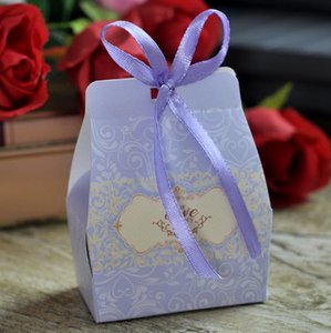 Wedding Candy Boxes Baby Shower Decoration Paper Box Gifts Favor with Ribbon Bags Christmas Day Candies Chocolates