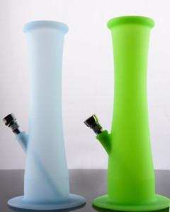 EM ESTOQUE Colorido 9 polegadas Bongos de silicone com downstem metal Tubo de água de silicone por caixa individual