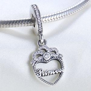 Real 925 Sterling Silver Não Banhado Princesa Amor Coração Charme Europeu Encantos Beads Fit Pandora Snake Cadeia Bracelete DIY Jóias
