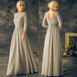 Long Mother Of The Bride Dresses Plus Size Sleeves Chiffon Lace Applique A Line Floor Length Bateau 2020 Formal Gowns Vintage EV138