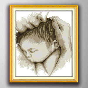 Abrazar el amor de la madre al bebé, elegante estilo de punto de cruz Establece la costura Kits de bordado pinturas contadas impresas sobre lienzo DMC 11CT