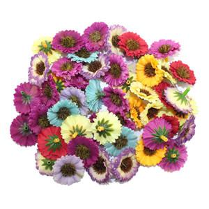 Al por mayor- 100pcs / lot cabeza de 3 cm de alta calidad multicolor tela artificial flor de la boda / flor de la margarita ramo de Scrapbooking