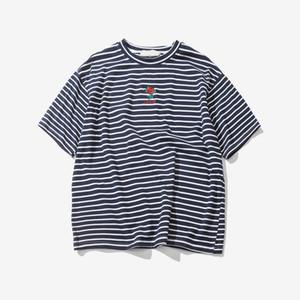Gül Nakış Çizgili Mens T-shirt Kısa Kollu Yaz Hi-street Boy Hip Hop Tişört Pamuk Tee Gömlek 2 Renkler