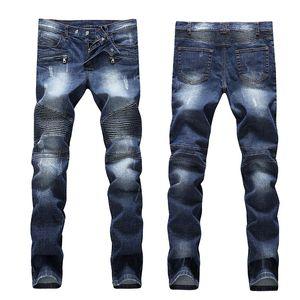Heißer verkauf zerrissene dünne jeans mode designer mens shorts jeans schlank motorrad moto biker kausalen herren denim hosen