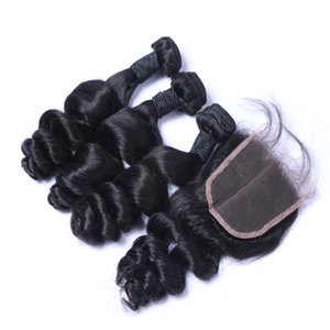 Top 4X4 Lace closure + 3 piezas Brazilian Hair Bundles Peruvian Indian Malaysian Cambodia Virgin Hair Extensions Cabello Suelto