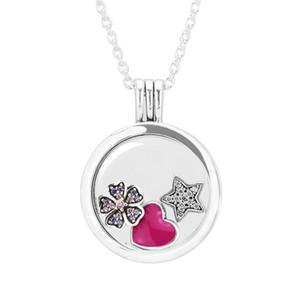 Flottant médaillon Petite éléments coeur fleur et étoile moyen saphir cristal collier pendentif femme tour de cou bijoux en argent sterling