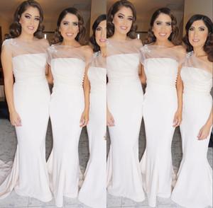 2017 Zarif Beyaz Mermaid Gelinlik Modelleri Pleats Ile Saten Straplez Sweep Tren Düğün Parti Dersses Ucuz