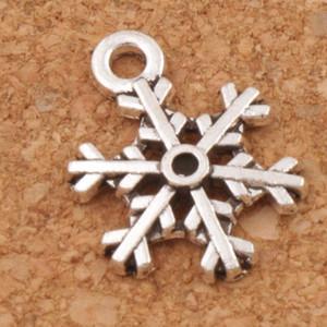 Gewölbte Schneeflocke Charms Anhänger 200 teile / los Antik Silber Modeschmuck DIY Fit Armbänder Halskette Ohrringe L794 13,1x18mm