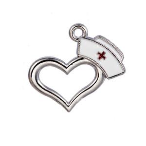 Charmes médicales en ligne de coeur infirmière infirmière Cap émail alliage pendentif 21 * 23mm AAC1443