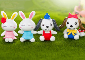 20sets kawaii 3option mini couple's rabbit and dog fairy miniature color as pic for garden and home decor usage,anime cartoon figure