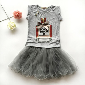 girls clothing sets boutique kids clothes summer baby perfume bottle print sequin shirts short sleeve + ruffle tutu skirts childrens outfits