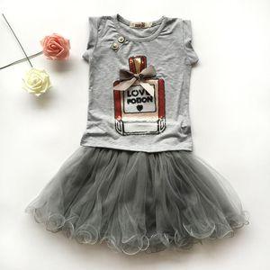 девушки одежды наборы бутик детская одежда летняя детская духи бутылка печать блестки рубашки с коротким рукавом + ruffle юбки-пачки юбки детские наряды