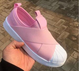 BAJO PRECIO Verano SUPERSTAR SLIP ON Sandalias Mocasines Para Hombres Correa cruzada con cabeza de mujer 4colors low Tops zapatillas unisex 36-44