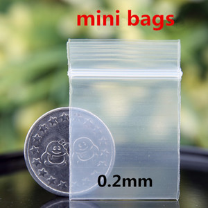 투명 미니 미니 지퍼 잠금 플라스틱 스토리지 포장 가방 식품 캔디 콩 보석 재 밀봉 가능한 두꺼운 PE 셀프 씰링 소형 패키지