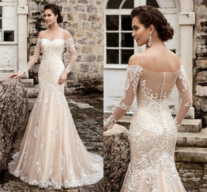 Newest Light Champagne Mermaid Wedding Gowns With Illusion Neck Long Sleeves Applique Lace Bridal Dress Button Back 2019 Glamorous