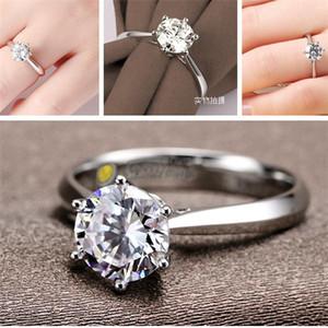 New Luxury Fashion jewelry Imitation Rhodium Plated 6 claw simulation diamond wedding ring 4 size Austria Czech Zircon Rings