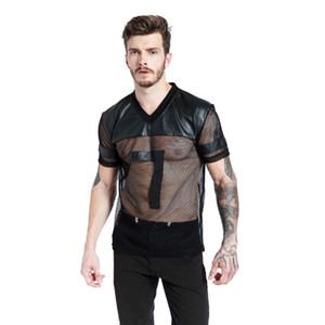 Искусственная кожа мужчины футболки черный дышащий тройник сетки лоскутное V воротник See Through Tee мужской панк с коротким рукавом S-XL