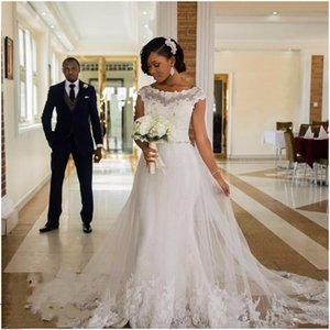 2017 Vestidos De Noiva 인어 웨딩 드레스 흰색 레이스 얇은 스쿠프 넥 페르시 얇은 명주 그물 바닥 길이 African Formal Bridal Gowns