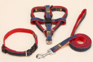 Atacado Retrátil Pet Dog Collars Leashes Denim Nylon Tecido Colar Pet Filhote de cachorro Decoração Ao Ar Livre Harness Colares