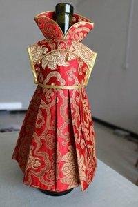 Цветочные платья шелковый атлас Рождество бутылки вина крышка сумка свадьба стол украшения бутылка красного вина платье сумка подходит 750 мл 10 шт. / лот
