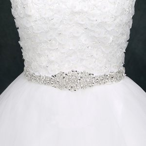 Crystal Wedding Belts Satin Rhinestone Wedding Dress Cinturón Accesorios de la boda Bridal Ribbon Sash Belt