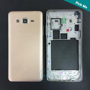 De calidad superior para Samsung Galaxy Grand J2 Prime SM-G532 G532 G532F marco medio bisel + tapa de la batería puerta trasera con logotipo negro oro blanco Color