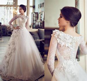 Sheer Bateau-Ausschnitt-Spitze Langarm-Brautkleid Blumen verschönert Prinzessin-Hochzeit Custom Vintage Ballkleid Brautkleider