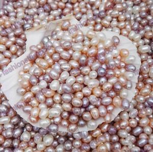 Yüksek Kalite 6-7mm Oval İnciler Tohum Boncuk 3 Renkler Beyaz Pembe Mor Gevşek Tatlısu İnciler Takı Yapımı için Ucuz Takı