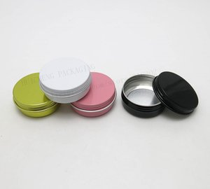 Wholesale- 100 x 30g aluminum metal cream make up jars 1 oz silver aluminum tin 30g cosmetic container Matte black pink white gold