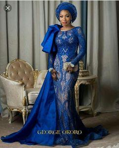 Новый стиль 2018 королевский синий с длинными рукавами платья выпускного вечера Арабский бисером длинное платье Вечерние платья коктейльное платье