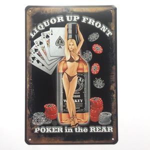 Poker dans l'affiche de signe rétro métal Vintage Retro pour homme Cave Garage shabby chic sticker mural Cafe Bar décor à la maison