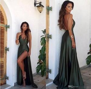 2017 Novo Estilo Olive Green Backless Dividir Elegante Simples Prom Vestido de Festa Com Decote Em V Longo Até O Chão Vestidos de Noite