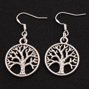Дерево жизни Серьги Серебро 925 рыба Ушной крючок 40шт/много старинное серебро люстра E463 20x40mm