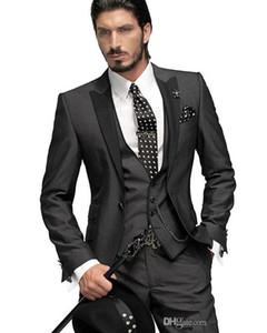 2017 Sıcak Satış! Custom Made Bir Düğme Damat Smokin erkekler için Düğün Suit Sağdıç Suit Boys Suit Ceket + Pantolon + Kravat + Yelek Damat