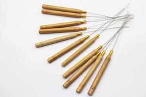 Mango de madera que tira de agujas para micro anillos / extensiones de cabello con cuentas de lazo Alambre de hierro enhebrador de gancho tirando herramientas de extensión de pelo