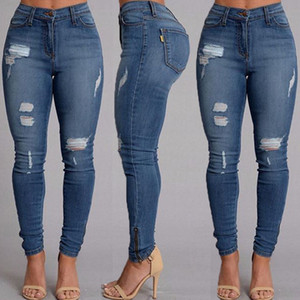 Wholesale- Women Ladies Clothing Denim Skinny Ripped Pants High Waist Stretch Jeans Slim Pencil Trousers Jeans Panties
