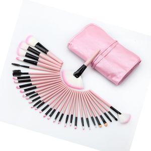 32 stücke Professionelle Kosmetische Weiche Augenbraue EyeShadow Eyeliner Lip Powder Foundation Fan Pinsel Werkzeug Make-Up Pinsel Set Kit mit Ledertasche