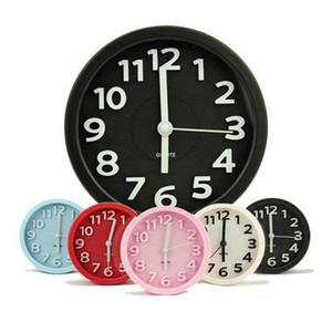 Moderno breve colore della caramella cerchio sveglia muto lounged colore solido doppio orologio desktop semplice piccolo stile
