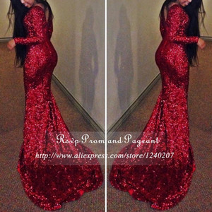 Sparkling Borgogna Mermaid Prom Dress Nuovo Design V Indietro South Africa Long Sweep Treno Formale Evening Party Gown Custom Made Plus Size