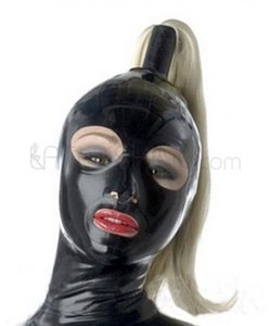 Sexy Black Latex Hoodie Masque Fétiche Open Eyes Mouth femmes avec perruque Custom Made Free