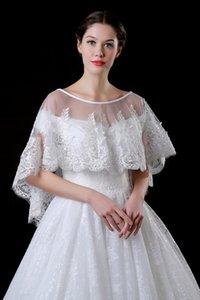Pizzo Bolero per Brides Mezza Maniche Appliques Beaded Short Jacket Wraps Scialle a buon mercato CPA969