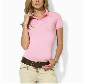 Kadın Polo Gömlek Tarzı Yaz Moda büyük At Nakış kadın Yaka Polo Gömlek Pamuk Slim Fit Polos En Rahat polos gömlek Yaz