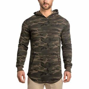 Otoño para hombre palangre curva dobladillo camiseta encapuchada Mens Hipster Hip Hop lado de manga larga con capucha para hombre envío gratis